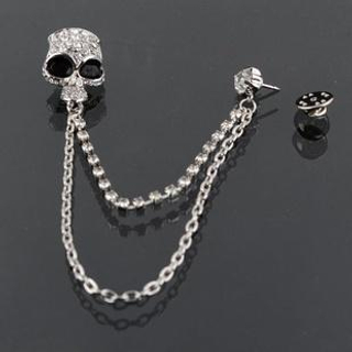 Trend Cool - Rhinestone Skull Brooch