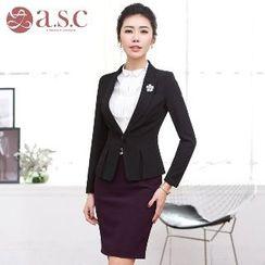 Aision - Shirred Jacket / Pencil Skirt