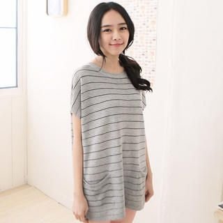 CatWorld - Appliqué Oversized Striped Knit Top