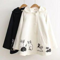 Angel Love - Cat Print Hooded Cape Jacket