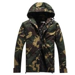 Free Shop - Hooded Camouflage Jacket