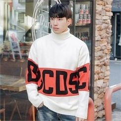STYLEMAN - Crew-Neck Gradient Waffle-Knit Sweater