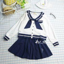Angel Love - Set: Striped Sailor Collar Long Sleeve Top + A-Line Skirt