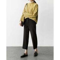 UPTOWNHOLIC - Flat-Front Straight-Cut Pants
