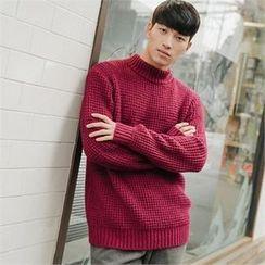 STYLEMAN - Mock-Neck Waffle-Knit Sweater