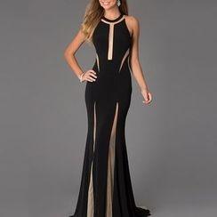 Rebecca - Mesh Panel Sleeveless Evening Dress