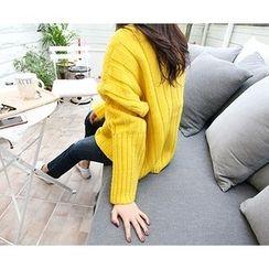MARSHMALLOW - Monk-Neck Knit Sweater