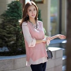 Styleonme - Inset Chiffon Blouse Sleeveless Knit Top with Scarf