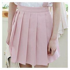 Sechuna - Detachable Suspender Pleated Skirt