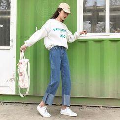 Big Cat - Roll-Up Hem Wide Leg Jeans