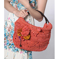 florabella florabella - Alassio Crochet Raffia Leather Handbag
