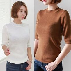 Seoul Fashion - Mock-Neck Knit Top