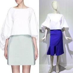 JOYIST - Puff-Sleeve Top / Ruffle Pencil Skirt