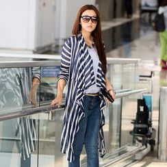 SO Central - Semi-Sheer Striped Long Cardigan