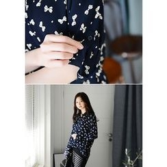 DEEPNY - Ribbon Pattern Chiffon Blouse