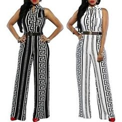 Rebecca - Sleeveless Patterned Jumpsuit