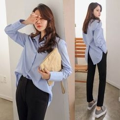 PPGIRL - Slit-Back Cotton Blouse