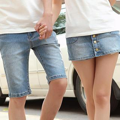 Igsoo - Couple Denim Shorts / Skort