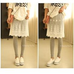 CherryTuTu - Inset Lace Skirt Leggings