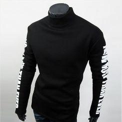 WIZIKOREA - Mock-Neck Lettering T-Shirt