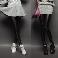 CUTIE FASHION - Brushed Fleece-Lined Faux-Leather Leggings