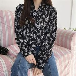 QNIGIRLS - Tie-Neck Floral Print Top