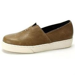 MODELSIS - Platform Genuine Leather Slip-Ons