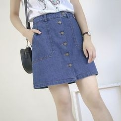 Ranche - Button Down A-Line Mini Denim Skirt
