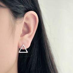 Blinglitz - 925 Sterling Silver Triangle Earrings