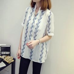 VIZZI - Printed Stand Collar Elbow Sleeve Shirt