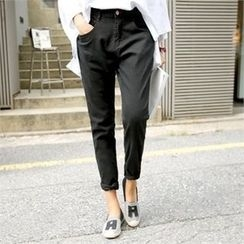 PEPER - Band-Waist Straight-Cut Pants