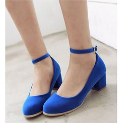 Freesia - Ankle Strap Block Heel Pumps