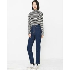 Someday, if - Mock-Neck Striped Slim-Fit Top