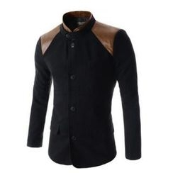 SEOBEAN - Mandarin-Collar Patch-Shoulder Blazer