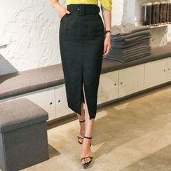 DABAGIRL - Belted Linen Blend Long Pencil Skirt
