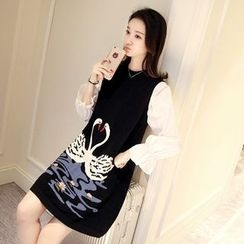 Shomez - Long-Sleeve Panel Knit A-line Dress