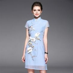 Ozipan - Short-Sleeve Embroidered Dress