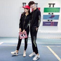 尚雅姿 - 情侣款套装: 图案拉链夹克 + 运动裤