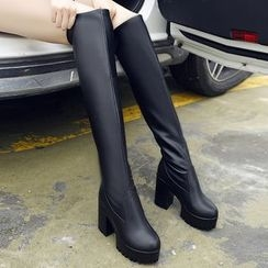 Shoetown - Platform Block Heel Tall Boots