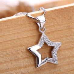 Zundiao - Sterling Silver Rhinestone Star Pendant