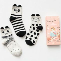Socka - Pair of 3: Ear-Accent Printed Socks