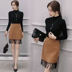 Fiorire - Set: High Neck Knit Pullover + Fringe Skirt