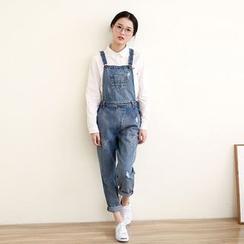 三木社 - 做舊背帶牛仔褲