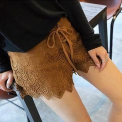 REDOPIN - Lace-Up Front Faux-Suede Shorts