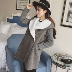 Colorful Shop - Hooded Knit Panel Fleece Coat