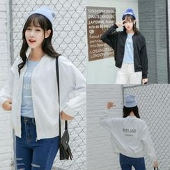 Melon Juice - Plain Applique Baseball Jacket