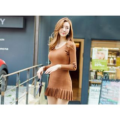 UUZONE - V-Neck Frill-Hem Knit Bodycon Dress