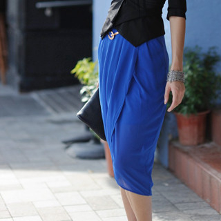 59 Seconds - Chiffon Wrap Tulip Skirt (Belt not Included)