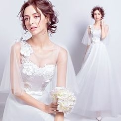 Angel Bridal - Flower Applique Tulle Wedding Dress