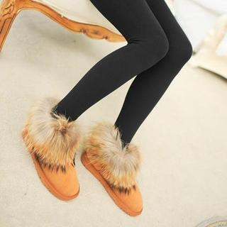 CherryTuTu - Brushed-Fleece Leggings / Brushed-Fleece Stirrup Leggings (2 Designs)